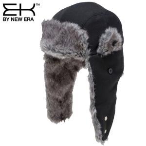 イーケーバイニューエラ キャップ トラッパー ウール シンセティックファー ブラック グレー EK by New Era Cap The Trapper Wool Synthetic Fur Black Gray cio
