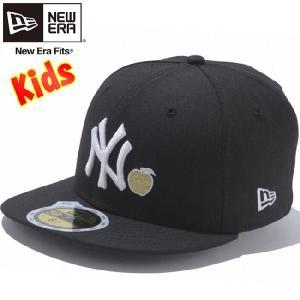 ニューエラ 5950キッズキャップ アップルロゴコレクション ニューヨークヤンキース ブラック ゴールド アップル New Era 59FIFTY Kids Apple Logo Black Gold|cio