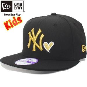ニューエラ 950 スナップバック キッズ キャップ ハートロゴコレクション ニューヨークヤンキース ブラック ゴールド New Era 9FIFTY Kids Cap|cio