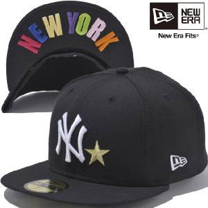 ニューエラ 5950キャップ スターロゴ アンダーバイザー ニューヨークヤンキース ブラック マルチ New Era 59FIFTY Cap Star Logo Under Visor New York Black|cio