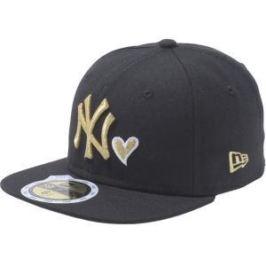 ニューエラ 5950キッズキャップ ハートロゴ アンダーバイザー ニューヨークヤンキース ブラック New Era 59FIFTY Kids Cap Heart Logo Under Visor|cio
