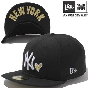 ニューエラ 5950キャップ ハートロゴコレクション アンダーバイザー ニューヨークヤンキース ブラック ゴールド New Era 59FIFTY Heart New York Yankees Black cio