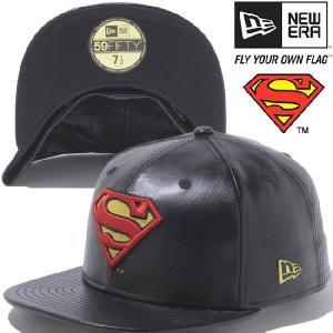 スーパーマン×ニューエラ 5950キャップ スーパーマンロゴ ブラックレザー ブラック レッド SUPERMAN×New Era 59FIFTY Cap Superman Logo Black Leather Black|cio