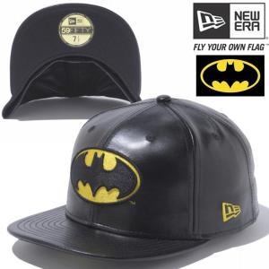 バットマン×ニューエラ 5950キャップ バットマンロゴ ブラックレザー ブラック ゴールド BATMAN×New Era 59FIFTY Cap Batman Logo Black Leather Black|cio
