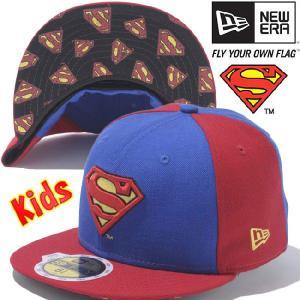 スーパーマン×ニューエラ 5950キッズキャップ アンダーバイザー スーパーマンロゴ ブライトロイヤル プリント SUPERMAN×New Era 59Fifty Kids Superman Logo cio