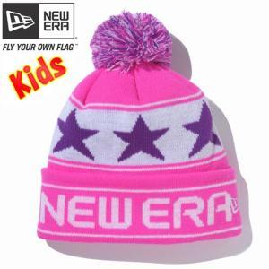 ニューエラ キッズニットキャップ ポンポンニット スターライン 蛍光ピンク グレープ ホワイト New Era Kids Knit Cap Pom-Pon Knit Star Line Neon Pink Grape|cio