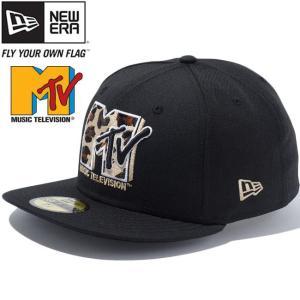 エムティーヴィー×ニューエラ 5950キャップ マルチロゴ ブラック ベージュ Mtv×New Era 59Fifty Cap Multi Logo Black Beige|cio