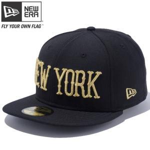 ニューエラ 5950キャップ ゴールドロゴ ニューヨーク ブラック メタリックゴールド New Era 59FIFTY Cap Gold Logo New York Black Metallic Gold|cio