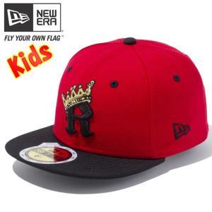 ニューエラ 5950キッズキャップ ツートーンボディ アールクラウン スカーレット ブラック ゴールド New Era 59FIFTY Kids Cap 2Tone Body R Crown Scarlet Black|cio