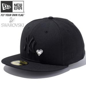 スワロフスキー(R)エレメンツ×ニューエラ 5950キャップ ブラックロゴ ハート ヤンキース ブラック Swarovski×New Era 59Fifty Black Logo Heart Yankees Black|cio
