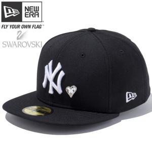 スワロフスキー(R)エレメンツ×ニューエラ 5950キャップ ホワイトロゴ ハート ヤンキース ブラック Swarovski×New Era 59Fifty White Logo Heart Yankees Black|cio