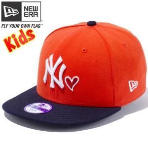 ニューエラ 950 スナップバック キッズ キャップ ハートロゴコレクション ニューヨークヤンキース オレンジ ネイビー New Era 9Fifty Snap Back Kids Cap|cio