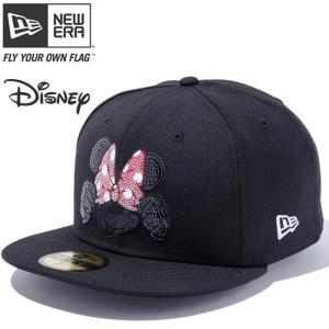 ディズニー×ニューエラ 5950キャップ マルチロゴ シークインド ミニーマウス ブラック スカーレット スパンコール Disney×New Era 59FIFTY Sequined Minnie cio