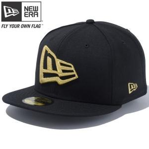 ニューエラ 5950キャップ ゴールドロゴ エヌイー フラッグ ブラック メタリックゴールド New Era 59FIFTY Cap White Logo NE Flag Black Metalic Gold|cio
