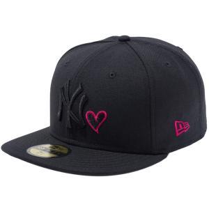 ニューエラ 5950キャップ ブラックロゴ ハートロゴコレクション ニューヨークヤンキース ブラック ストロベリー New Era 59FIFTY Cap Black Logo Heart Logo|cio