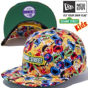 セサミストリート×ニューエラ 950キッズ スナップバックキャップ マルチロゴ オールオーバー プリント Sesame Street×New Era 9FIFTY Kids Cap Multi All Over|cio
