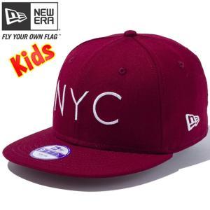 ニューエラ 950 スナップバック キッズ キャップ ニューヨークシティロゴ カーディナル ホワイト New Era 9FIFTY Snap Back Kids Cap New York City Logo|cio