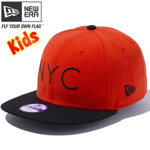 ニューエラ 950 スナップバック キッズ キャップ ニューヨークシティロゴ オレンジ ブラック New Era 9FIFTY Snap Back Kids Cap New York City Logo|cio