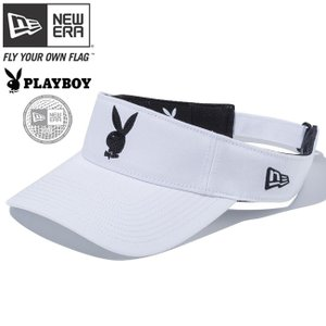 プレイボーイ×ニューエラ バイザー ゴルフ シークインド ラビットヘッド ホワイト ブラック Playboy×New Era Visor Golf Sequined Rabbit Head White Black|cio