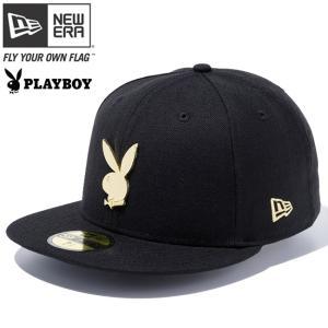 プレイボーイ×ニューエラ 5950キャップ ゴールドロゴ ラビットヘッド メタリックバッジ ブラック ゴールド Playboy×New Era 59FIFTY Gold Logo Rabbit Head cio