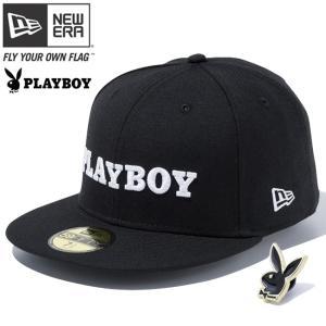 プレイボーイ×ニューエラ 5950キャップ ホワイトロゴ ラビットヘッド ピンズ付属 ブラック ホワイト Playboy×New Era 59FIFTY Rabbit Head Pin Included Black cio