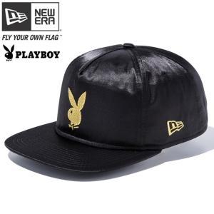プレイボーイ×ニューエラ ザ ゴルファー スナップバック キャップ ラビットヘッドロゴ ブラックサテン ゴールド Playboy×New Era The Golfer Rabbit Head|cio