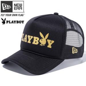 プレイボーイ×ニューエラ 940 エーフレーム トラッカー キャップ プレイボーイロゴ ブラックトリコット ゴールド Playboy×New Era 9FORTY Playboy Logo|cio