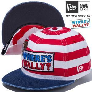 ウォーリー×ニューエラ 950 スナップバック キャップ ロゴ ボーダー プリント ウォッシュドデニム Wally×New Era 9FIFTY Snap Back Cap Logo Stripes Print|cio