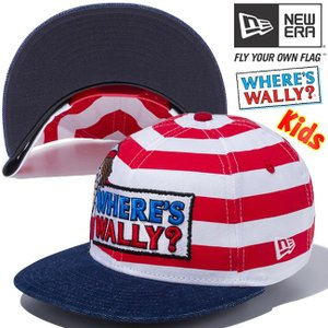 ウォーリー×ニューエラ 950 スナップバック キッズ キャップ ロゴ ボーダー プリント ウォッシュドデニム Wally×New Era 9FIFTY Snap Back Kids Logo Stripes|cio