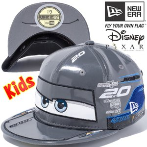 カーズ×ニューエラ 5950キッズキャップ オールオーバー ストーム ダークグレー マルチカラー スノーホワイト Cars×New Era 59FIFTY Kids Cap Multi Logo Storm cio