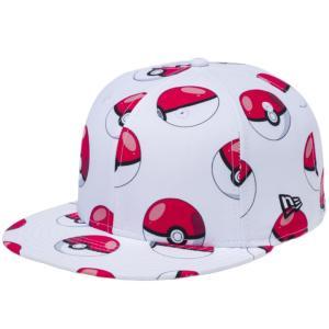 ポケモン×ニューエラ 5950キャップ オールオーバー モンスターボール ホワイトプリント ブラック Pokemon×New Era 59FIFTY Cap All Over Poke Ball White|cio