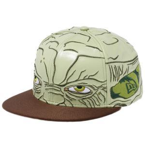 スターウォーズ×ニューエラ 5950キャップ オールオーバー ヨーダ グリーンシンセティックレザー ブラウン STAR WARS×New Era 59FIFTY Cap All Over Yoda|cio