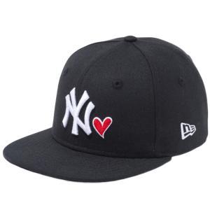 ニューエラ 950チャイルド スナップバック キャップ ハートロゴ ニューヨークヤンキース ブラック New Era 9FIFTY Child Snapback Heart Logo New York Yankees|cio