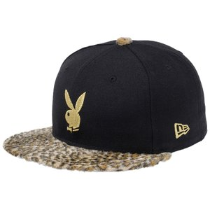 プレイボーイ×ニューエラ 5950キャップ ゴールドロゴ レオパードファー ラビットヘッド ブラック Playboy×New Era 59FIFTY Gold Logo Leopard Fur Rabbit Head|cio