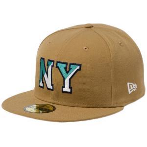 ニューエラ 5950キャップ マルチロゴ ベーシックファブリック ニューヨーク NY ウィート ネイビー New Era 59FIFTY Cap Multi Logo Basic Fabrics New York NY|cio