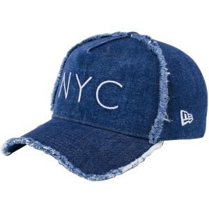 ニューエラ 940キャップ エーフレームトラッカー ニューヨークシティ NYC ダメージ ウォッシュドデニム New Era 9FORTY Cap Trucker New York City NYC Damaged|cio