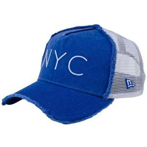 ニューエラ 940キャップ エーフレームトラッカー ニューヨークシティ NYC ダメージ ブルーアズール New Era 9FORTY Cap Trucker New York City NYC Damaged Blue|cio