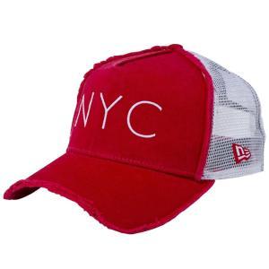 ニューエラ 940キャップ エーフレームトラッカー ニューヨークシティ NYC ダメージ スカーレット New Era 9FORTY Cap Trucker New York City NYC Damaged|cio