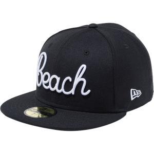 ニューエラ 5950キャップ ホワイトロゴ ビーチ ブラック スノーホワイト New Era 59FIFTY Cap White Logo Beach Black Snow White|cio