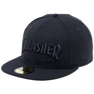 スラッシャー×ニューエラ 5950キャップ ブラックロゴ マガジン ブラック ブラック Thrasher×New Era 59FIFTY Cap Black Logo Magazine Black Black|cio