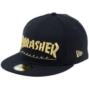 スラッシャー×ニューエラ 5950キャップ ゴールドロゴ マガジン ブラック メタリックゴールド Thrasher×New Era 59FIFTY Cap Gold Logo Magazine Black|cio