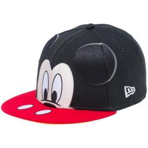 ディズニー×ニューエラ 950キッズ スナップバック キャップ ミッキーマウス ビッグフェイス ブラック Disney×New Era 950 Kids Mickey Mouse Big Face|cio