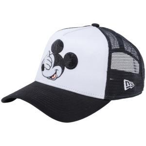ディズニー×ニューエラ 940キャップ スナップバック エーフレーム ミッキーマウス シークインド ホワイト Disney×New Era 940 A-Frame Mickey Mouse Sequined|cio