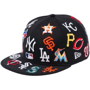 ニューエラ 950キャップ スナップバック MLBチームロゴ オールオーバー ブラック チームカラー ホワイト New Era 950 Cap Snapback MLB Team Logo All Over|cio