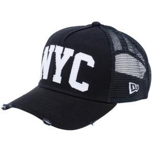 ニューエラ 940 スナップバック キャップ エーフレームトラッカー ダメージ NYC ブラック New Era 9FORTY Snap Back Cap A-Frame Trucker Damaged NYC|cio