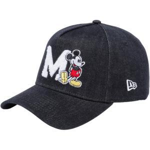 ディズニー×ニューエラ 940 スナップバック キャップ エーフレームトラッカー ミッキー イニシャル ブラックデニム Disney×New Era 9FORTY Snap Back Mickey|cio