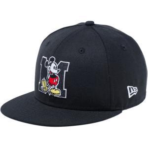 ディズニー×ニューエラ 950 スナップバック キッズ キャップ ミッキーマウス イニシャル ブラック Disney×New Era 9FIFTY Snap Back Kids Cap Mickey Initial|cio