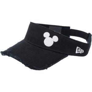 ディズニー×ニューエラ サンバイザー ゴルフ シークインド ミッキーマウス ブラック ホワイト Disney×New Era Sun Visor Golf Sequined Mickey Mouse Black|cio
