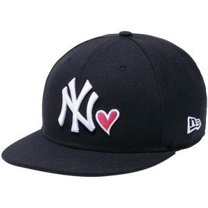 ニューエラ 950 スナップバック キッズキャップ ハートロゴ ニューヨークヤンキース ブラック ホワイト New Era 9FIFTY Snap Back Kids Heart New York Yankees|cio