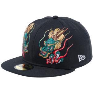 石川真澄×ニューエラ 5950キャップ オールオーバー 龍 ブラック オフィシャルカラー スノーホワイト Masumi Ishikawa×New Era 59FIFTY Cap All Over Dragon|cio